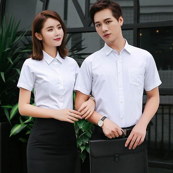 SLSS2-男女同款细斜纹免烫抗皱短袖衬衣