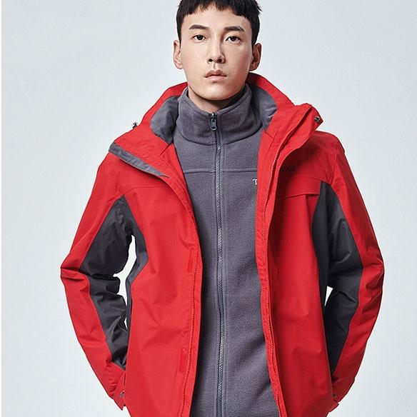 TAWH91603-探路者冲锋衣男女秋冬季防风外套三合一可拆卸登山服